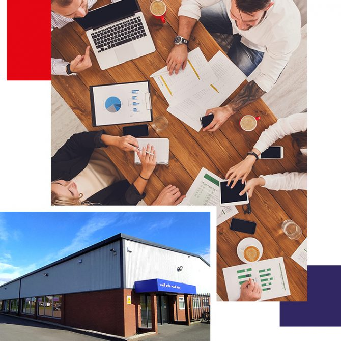 Kingstown Associates. A collage of business people sat around a table, the Kingstown Associates building, and geometric shapes.